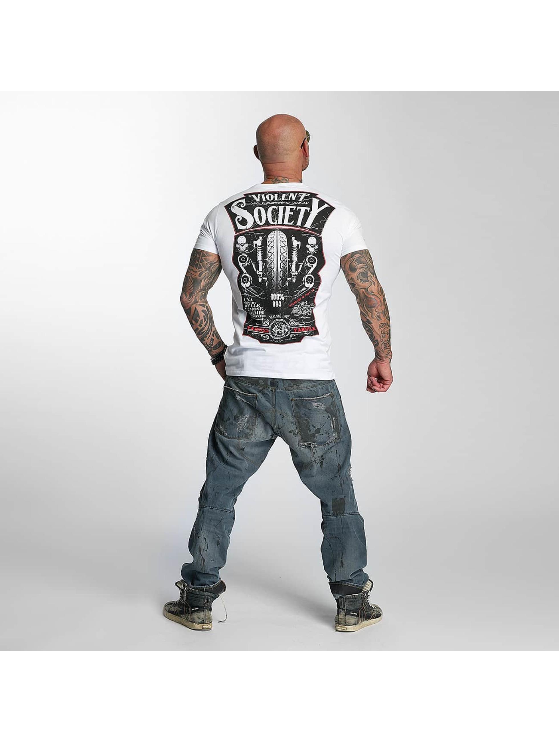Yakuza T-skjorter Violent Society hvit