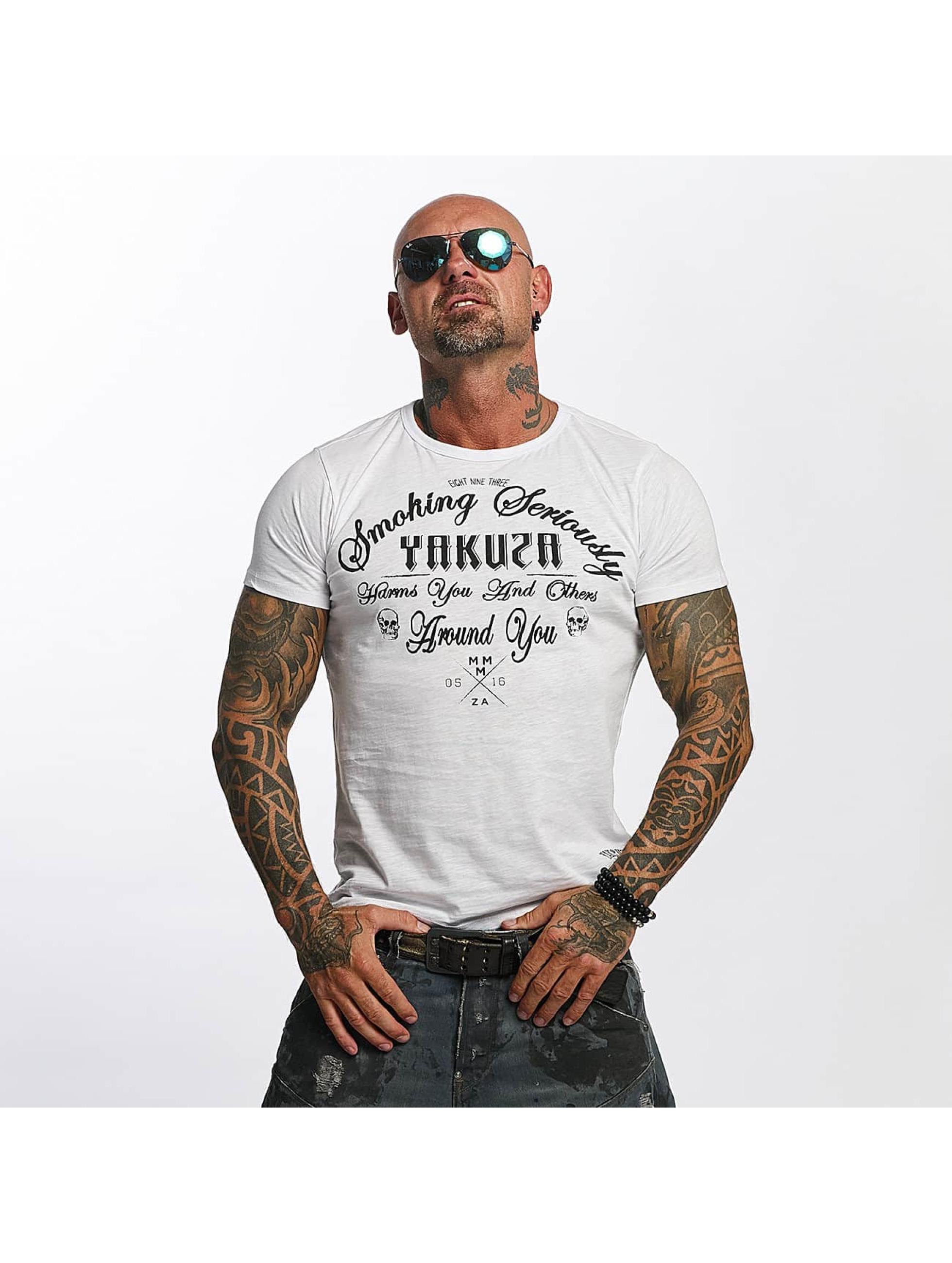 Yakuza T-skjorter Smoking Seriously hvit