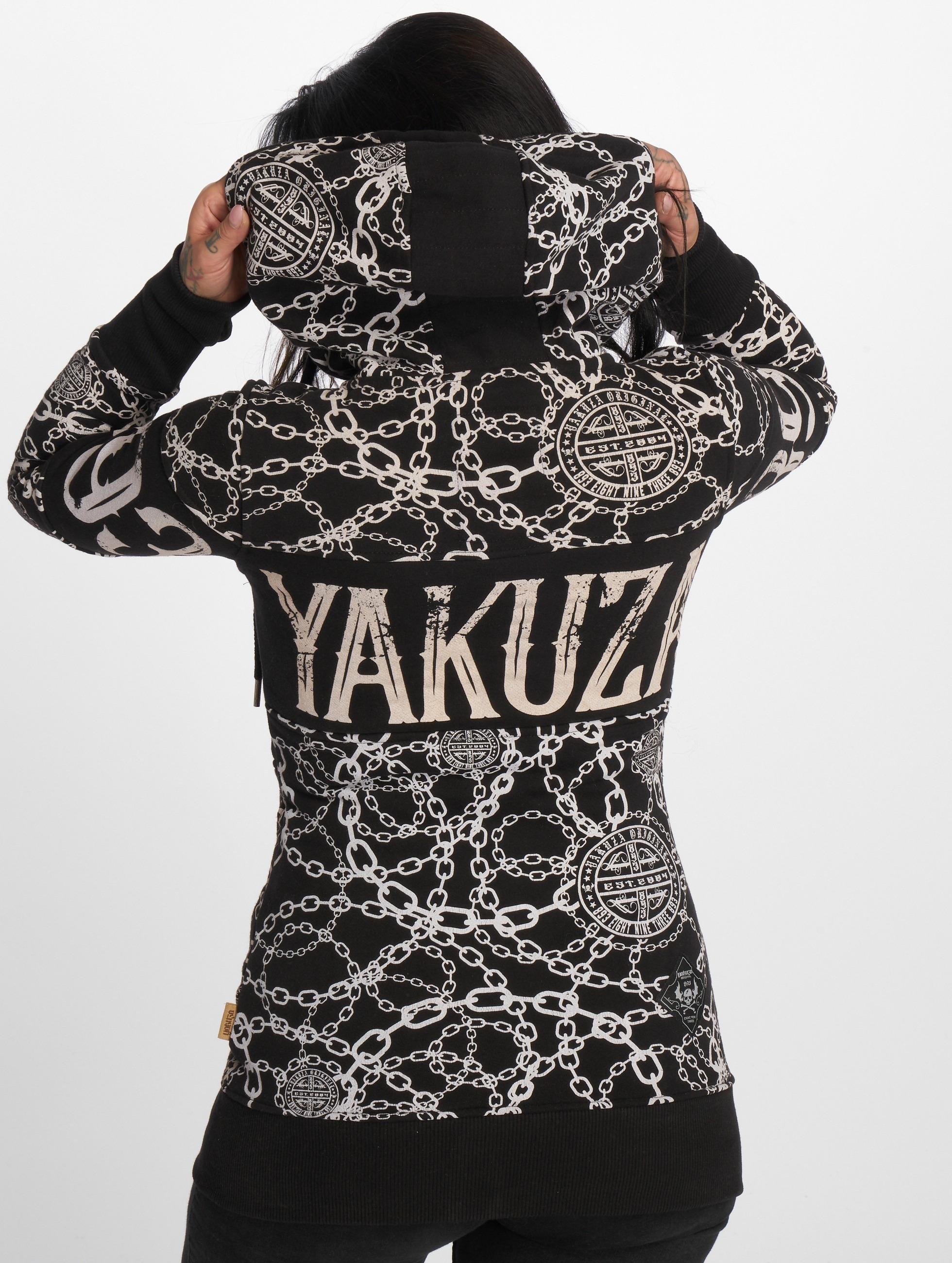 Yakuza Vetoketjuhupparit Allover Chains musta