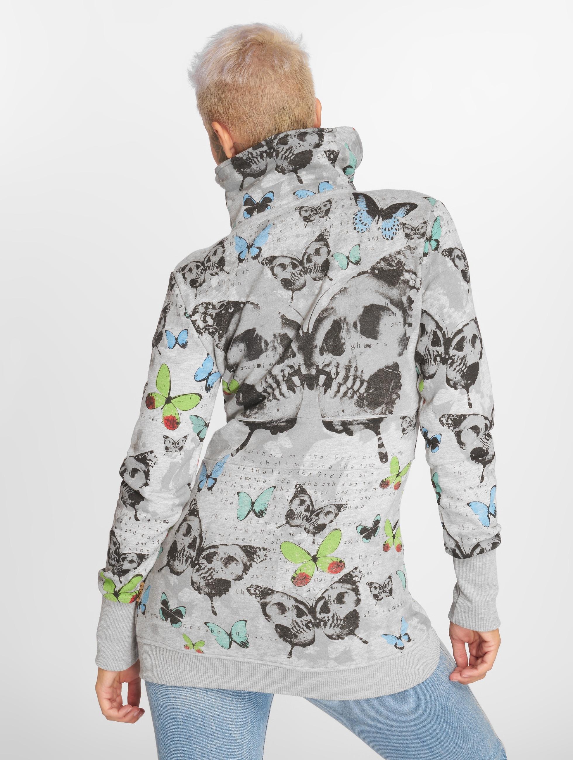 Yakuza Zip Hoodie Butterfly šedá