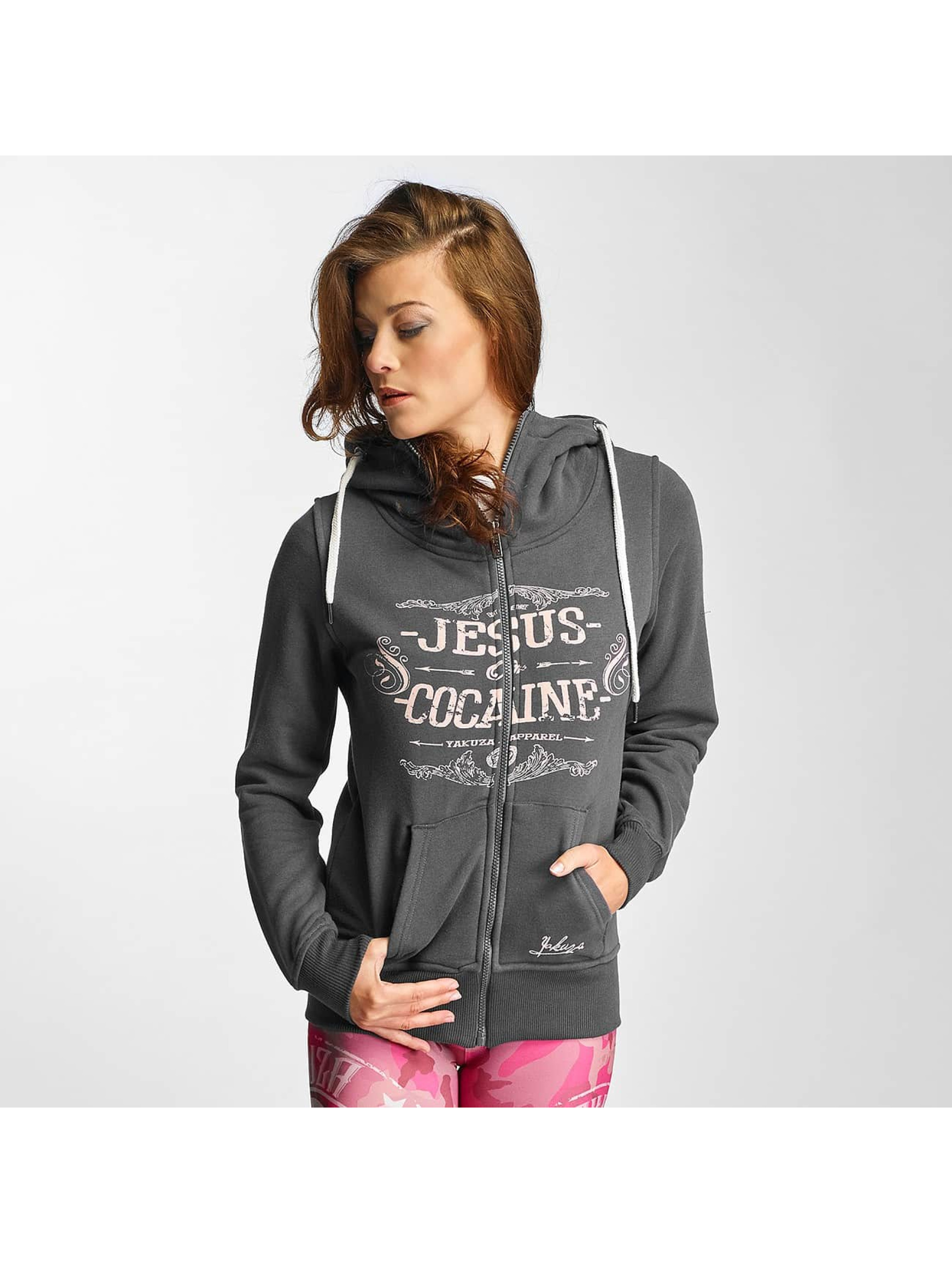 Yakuza Zip Hoodie Jesus or Cocaine grey