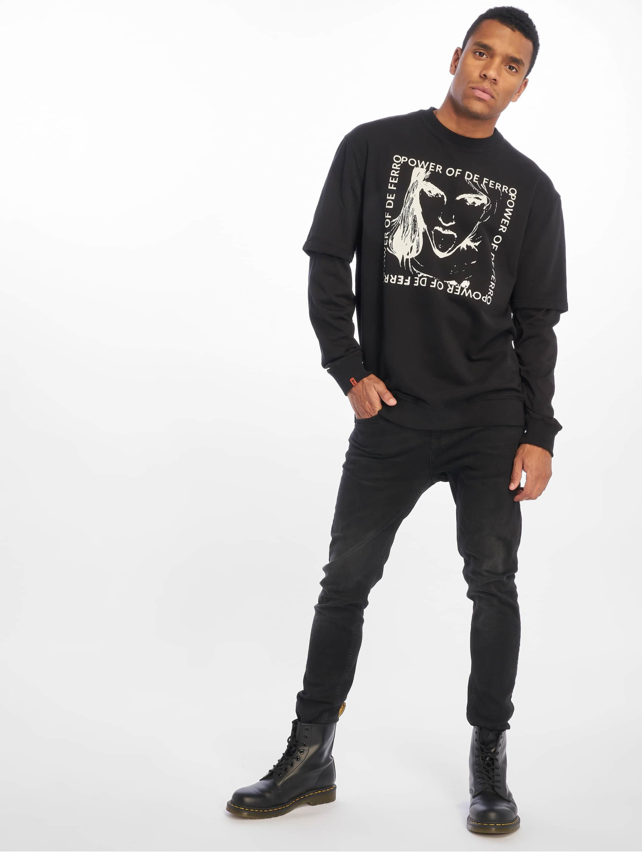 De Ferro | Arm B Tongue  noir Homme Sweat & Pull  604870| Homme Hauts