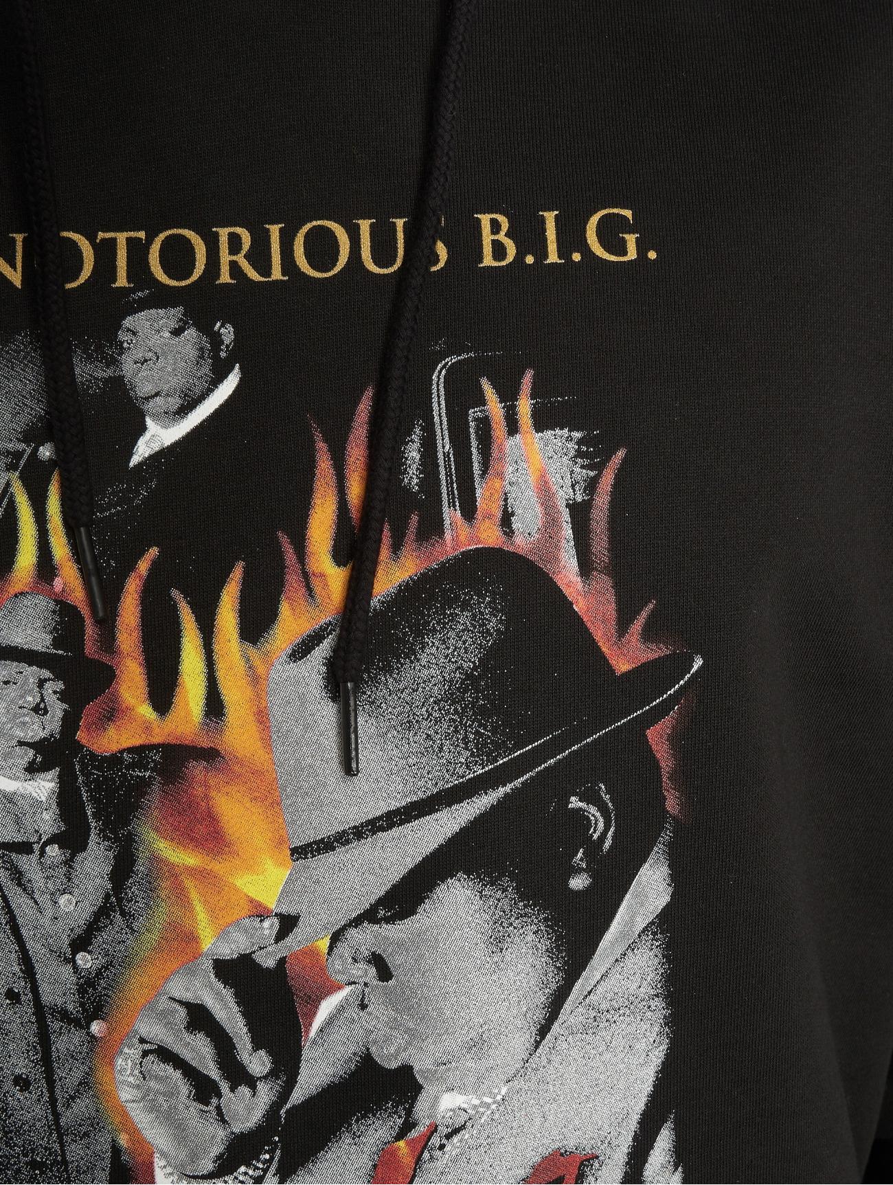 Merchcode | Biggie Flames  noir Homme Sweat capuche  574862| Homme Hauts