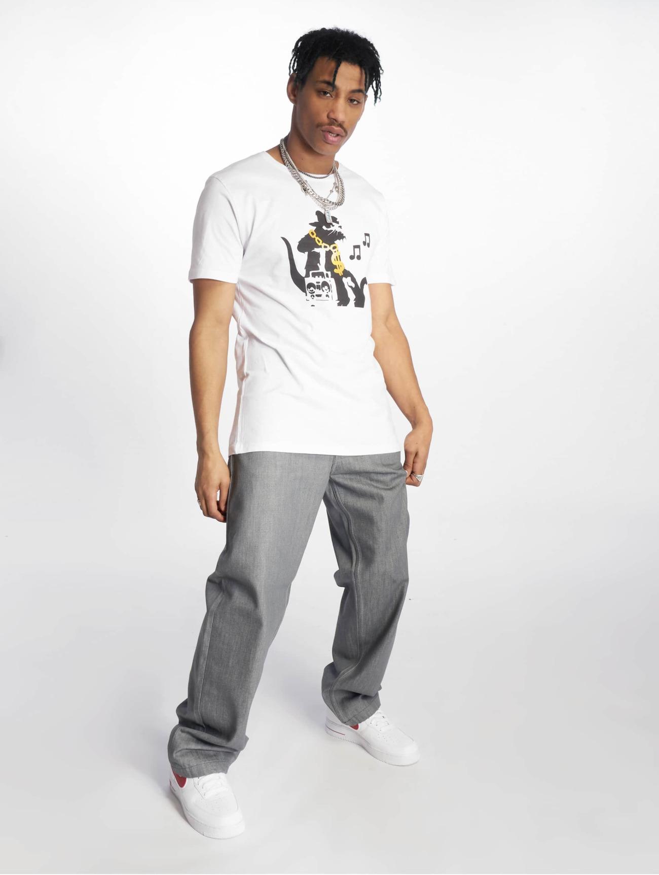 Merchcode Överdel / T-shirt Banksy Hiphop Rat i vit 619597 Män Överdelar
