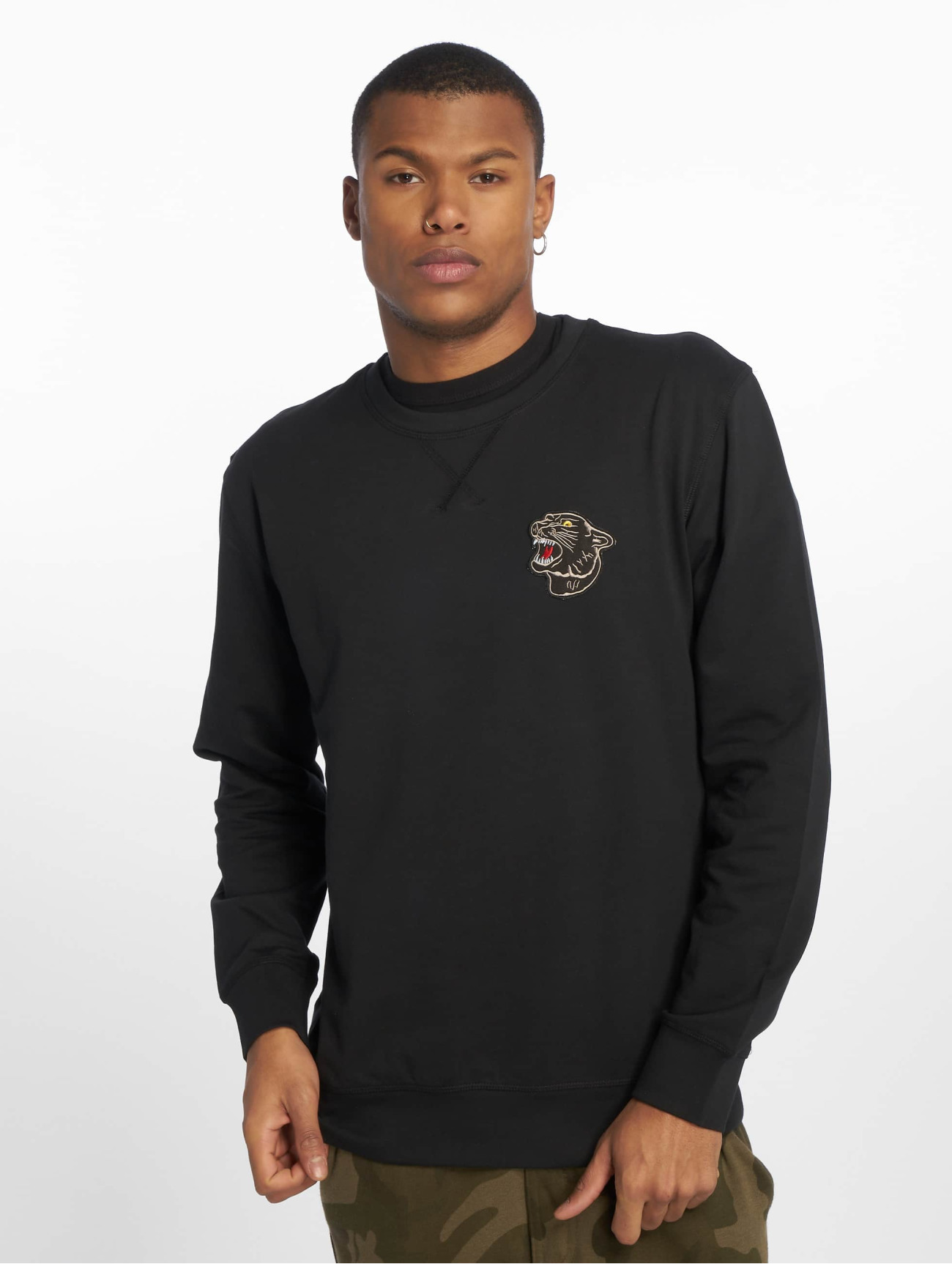 Mister Tee | Embroidered Panther  noir Homme Sweat & Pull  550724| Homme Hauts