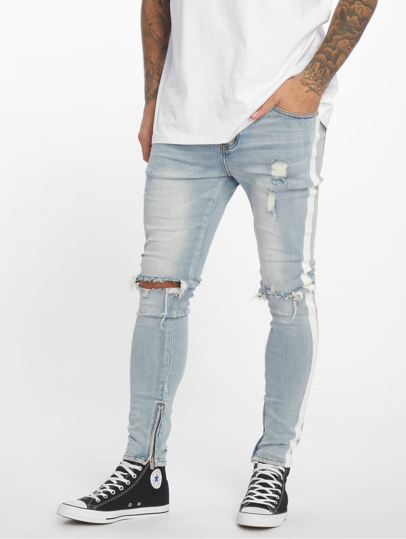 Sixth June  Stripes   bleu Homme Jean skinny  639978 Homme Jeans