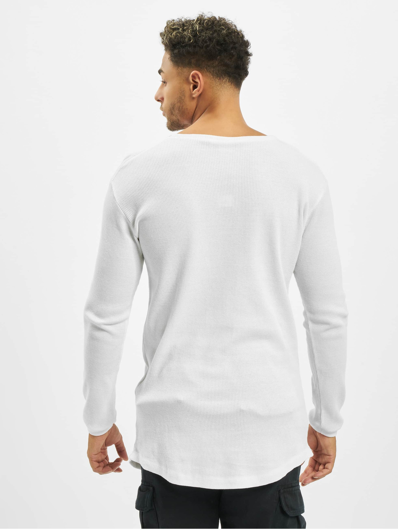 Urban Classics Overwear / Longsleeve Long Shaped Waffle in white 201671
