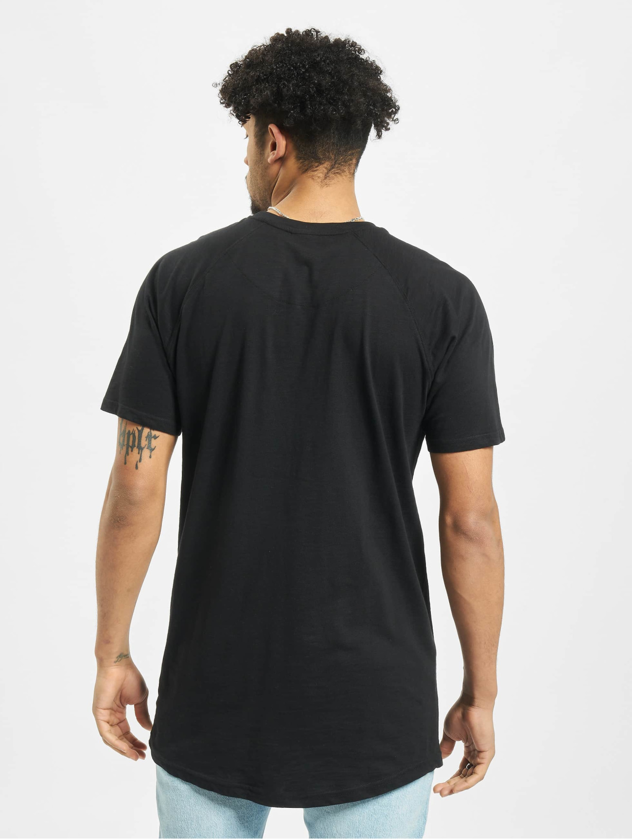Urban Classics | Long Shaped Slub Raglan noir Homme T-Shirt 183743| Homme Hauts