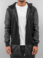 Bangastic Zip Hoodie long leather čern