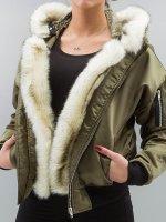 DEF Bomberjack Fake Fur olijfgroen