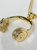 KING ICE ketting JUNGL JULZ Gold_Plated CZ Headphones goud