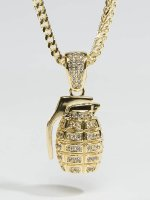 KING ICE Necklace Gold_Plated CZ Hand Grenade gold colored