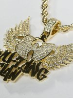 KING ICE Necklace WU-TANG CLAN Gold_Plated CZ The Protect Ya gold colored