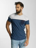Lindbergh T-Shirt Striped Pocket blau