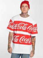 Merchcode T-paidat Coca Cola Stripe Oversized valkoinen