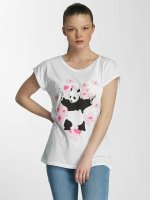 Merchcode T-Shirty Ladies Banksy Panda Heart bialy