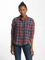 Only Bluse onlElif 3/4 Sleeve Check Denim blau