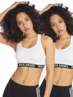 Rock Angel Sports Bra Double Pack Logo white