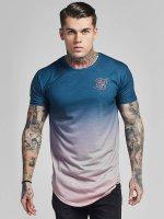 Sik Silk T-Shirt Curved Hem Faded blau