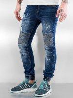 Sixth June Облегающие джинсы Destroyed Biker синий