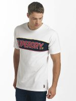Superdry T-Shirt Retro Stripe Box Fit blanc