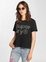 Superdry t-shirt Rhinestone Boxy zwart