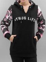 Thug Life Hoodie Skullpattern svart