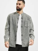 Urban Classics Hemd Low Collar grau