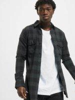 Urban Classics Košile Side Zip Leather Shoulder Flanell čern