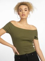Urban Classics Linne Off Shoulder Rib oliv
