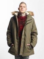 Urban Classics Płaszcze Heavy Cotton Imitation Fur oliwkowy