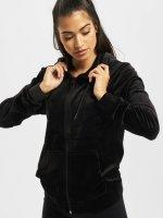 Urban Classics Sweat capuche zippé Ladies Velvet noir