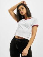 Urban Classics T-Shirt Ladies Cropped Ringer blanc