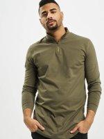 Urban Classics T-Shirt manches longues Long Shaped Turtle Zip olive