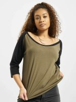 Urban Classics T-Shirt manches longues Ladies 3/4 Contrast Raglan olive