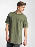 Urban Classics t-shirt Ripped Pocket olijfgroen