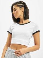 Urban Classics T-Shirt Ladies Cropped Ringer weiß