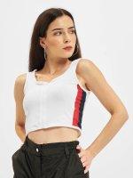 Urban Classics Top Side Stripe Crop Zip blanco