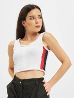 Urban Classics Tops Side Stripe Crop Zip bianco