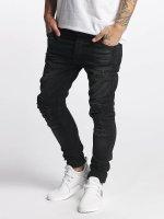 VSCT Clubwear dżinsy przylegające Knox Kneecut Leahter Kneepatch czarny