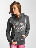 Yakuza Zip Hoodie Jesus or Cocaine grå