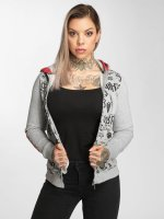 Yakuza Zip Hoodie Allover Label Flex grey