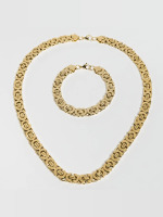 Paris Jewelry Necklace Bracelet 22cm and Necklace 60cm gold colored