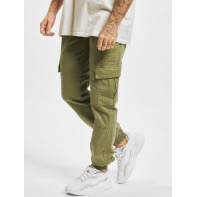 Urban Classics broek / Cargobroek Washed Cargo Twill Jogging in olijfgroen
