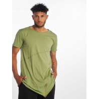 Urban Classics bovenstuk / t-shirt Long Open Edge Front Zip in olijfgroen