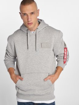 Alpha Industries Sweat capuche Red Stripe gris