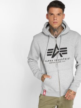 Alpha Industries Zip Hoodie Basic szary