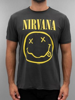 Amplified Männer T-Shirt Nirvana Smiley Face in grau