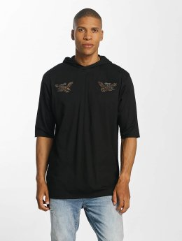 Brave Soul With X 2 Bird Embroideries Hoody Black