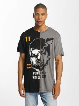 Brave Soul Cut And Sew T-Shirt Black/Grey
